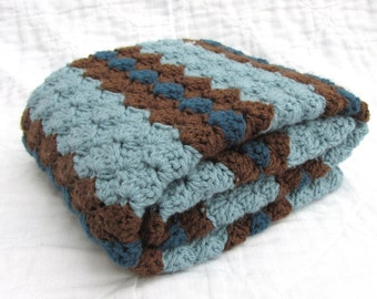 Crochet Baby Blanket, Baby Blanket, Crochet Blue Brown Baby Blanket, blues and brown, travel size
