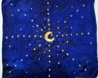Star Altar tarot cloth,spiritual gift,altar cloth, moon and stars, Star Seed, tarot card cloth, Crystal grid, sacred geometry, mandala