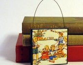 CHILDREN PARTY ORNAMENT Handmade Ornament from Vintage Upcycled Book Childrens Reader Christmas Ornament Kids Birthday Party