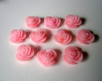 10 Pink Flower Resin Embellishment Jewelry Making Findings