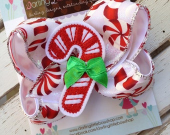 Candy Cane Bow -- Christmas Bow