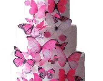 Hochzeitstorte Wedding Cake - Pink, Hot Pink, Fuchsia Edible Butterflies - Wedding Cake Topper, Birthday Cake, Sweet 16 Prom
