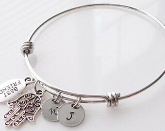 personalized bracelet, gift for best friend bracelet, bff jewelry, friendship jewelry, silver bangle charm bracelet, hamsa bracelet bangle