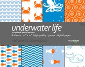 "Modern Digital Paper + Underwater Life 086  + Scrapbook Quality Paper Pack (12 x 12""- 300 dpi) 8 sheet pack paper + Pastel"