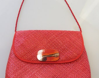 Vintate Red Straw Purse made by Vanessa