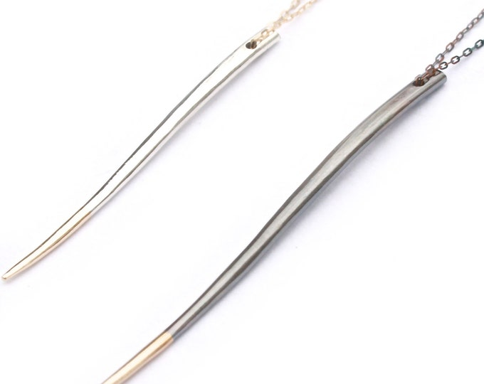 Quill Pendant Long- Solid Sterling Silver and 10K Yellow Gold Claw Necklace