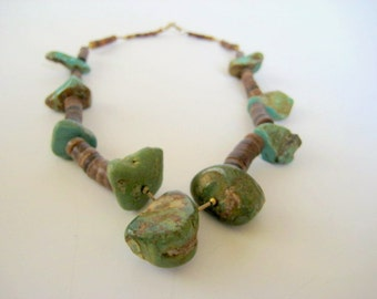 Chunky Natural Turquoise and Silver Heishi Bead Necklace Native American