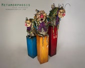 Metamorphosis - Polymer clay, wood, crystals, handmade sculpture