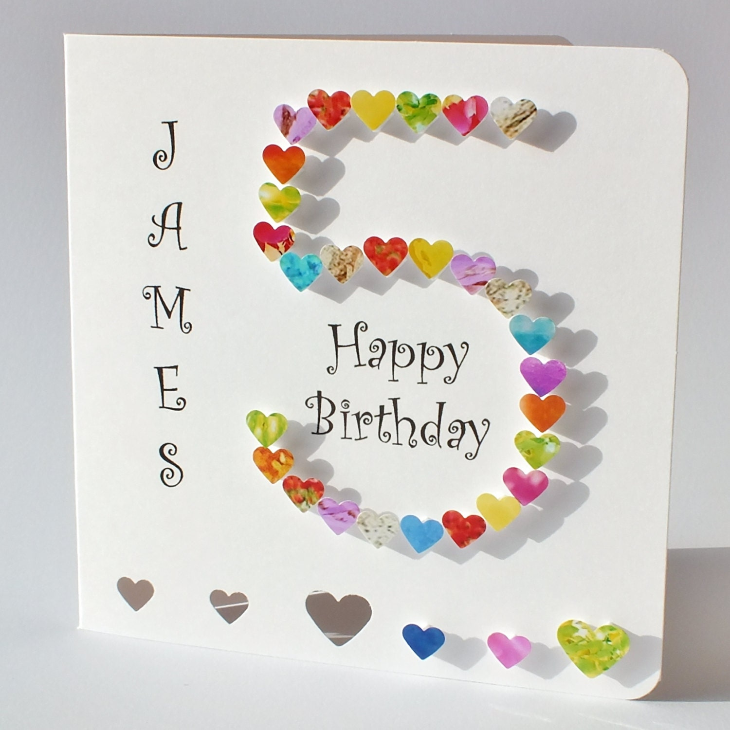 Handmade 3D '5' Card 5th Birthday Card Personalised