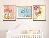 Nursery Decor for Girl, Balloon Art, Carnival Art, Carousel Art, Set of 3 prints, Girl Bedroom Wall Art, Princess Theme Room, Pink Room