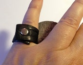 Black Leather Ring - Black - Wraped Around Ring