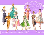 Digital Clipart, instant download, Vintage Women Clipart, clip art, ladies, fashion model, woman clipart, 1950s, 1940s, PNG files 1947