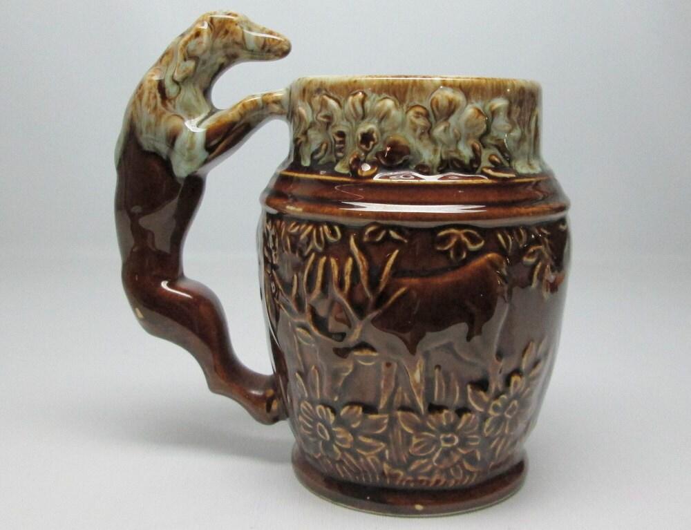 Vintage Rockingham Harker 1840 Pottery Mug Dog And Deer Usa