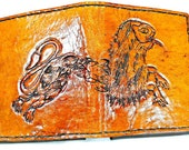 Celtic-Irish Lion - Leather Wallet - Celtic Irish Gift - Animal Lover - celtic renaissance - celtic art - pagan. holds 8 cards, 1 bill slot