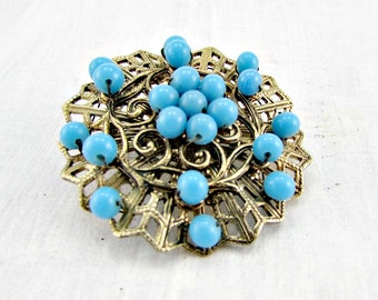 Vintage JAPANESE Brooch Pin, Gold Filigree Brooch, Blue Turquoise Glass Beaded Brooch, 1960s Vintage Costume Jewelry, Gift for Grandma Mom
