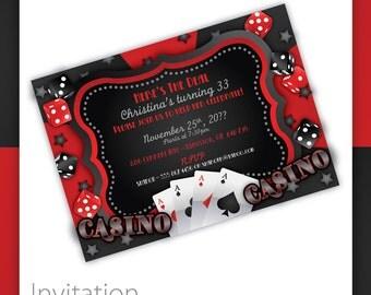 Casino Party Invitations - Casino Wow . Casino Birthday Invitation, Casino Event Invitation, Casino Invite, Printable Casino Invitation