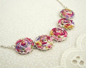 Summer Bouquet Necklace - Delicious Pink, Purple & Gold Roses in Festival Florals