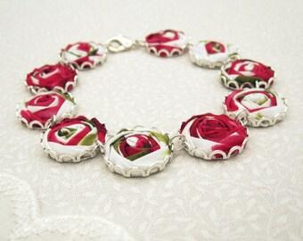 Belle Flower Bracelet - Snow White & Red Rose Fabric Bracelet - Romantic