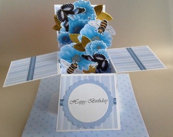 Floral/flower/pop-up/card-in-a-box/happy birthday/Unique Greeting card 3D Mothering Sunday