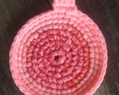 tawashi eco friendly dish scrubber, pot scrubber, cotton candy PINK // tawashi, upcycled nylon scrubbie for kitchen, eco cleaning, green