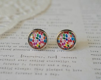 Round Glass Colourful Raindrop Stud Earrings