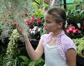 girls pink lace bamboo Shrug, BOLERO, jacket, 1-10 years