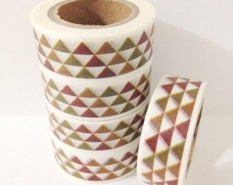 Fall Neutral Colored Triangles Washi Tape 11 yards 10 meters 15mm Brown Green Orange Autumn Geometric