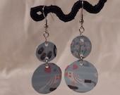 Upcycle earrings pale blue pastel earrings love birds just married jewelry white bird