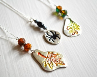 Fall Leaf or Spider Pendant PMC Fine Silver handpainted with Sterling Silver 18 inch chain Necklace