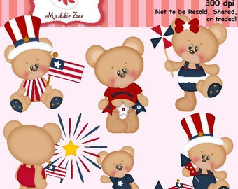 Patriotic Bear Cuties 1 Clipart (Digital Download)