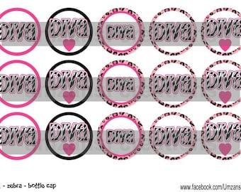 "Diva Zebra Digital Download for 1"" Bottle Caps (4x6)"
