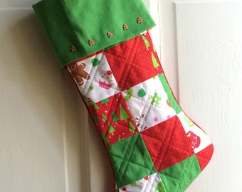 "Handmade Patchwork ""Gingerbread Men"" quilted Christmas stocking - Red, Green, and White Fabric"
