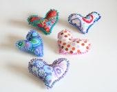 5 Fiber Art Heart Pins Valentines Day Kaffe Fassett