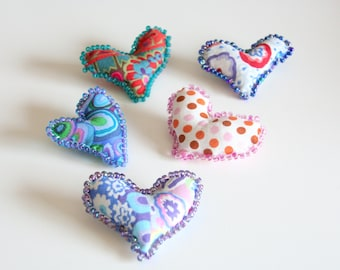 Fiber Art Heart Pins Set of 5 Valentines Day Pins Brooches, Wearable Art, Easter Basket Fillers, Teacher Gifts, Stocking Stuffers, Heart Pin