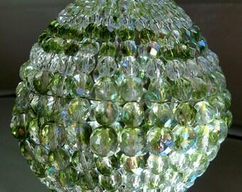 Large Green Iridescent Glass Beaded Light Bulb Cover, Pendant Light, Lamp Shade For Standard Size Light Bulbs