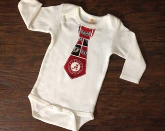 Alabama Inspired Tie Onsie, Baby Boy Alabama Appliqued Tie Onsie, Newborn Appliqued Onsie, Select Your Size, Baby Boy Tie Onsie