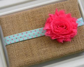 Shabby Chic Headband - Hot Pink and Aqua Headband