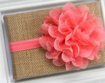 Coral Lace Chiffon Flower Headband - Coral Lace Headband