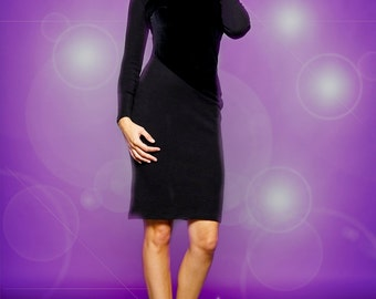 Wool jersey dress with contrasting velvet paneling, pencil dress