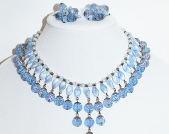 Vintage Light Blue Czech Glass Bib Necklace and Earring Set