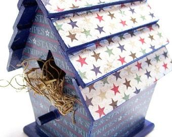 Stars and Stripes Decoupaged Mini Birdhouse