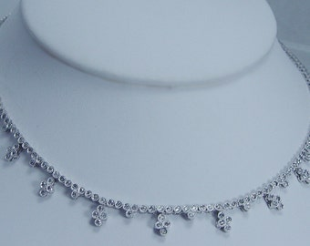 "9500 Dollars Estate Jewelry 14K White Gold 1.23ct 16"" Necklace Chocker 15.5 gr"