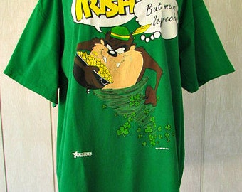 vintage 90s st patricks day t shirt tasmanian devil me irish but me no leprechaun xl usa