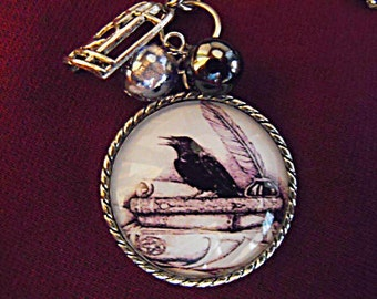 Silver Pendant Necklace,  Edgar Allan Poe Raven Image  With Pearls And Charms Womens Gift Handmade