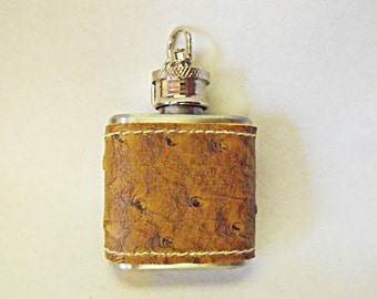 Flask,  Ostrich Leather Wrapped Mini Key Chain Flask 1 ounce Mens Womens Gift  Handmade