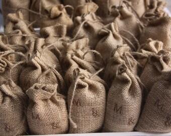 10 Burlap Bags with Drawstrings Personalized or Plain Wedding Favor Bags Shower Favor Burlap Bags