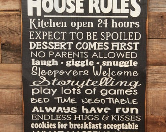 Large Wood Sign - Granparents House Rules - Subway Sign