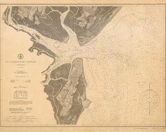 1905 Nautical Chart of St. Catherine's Sound