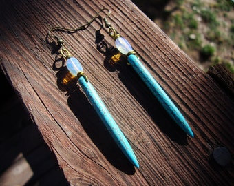 Turquoise howlite tribal spike and opalite earrings
