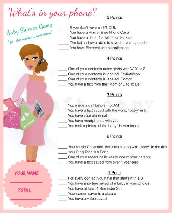 Dramatic image regarding what's in your phone baby shower game free printable